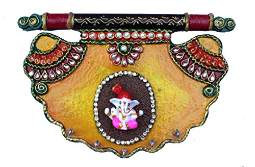 Paheli Craft Antique Rajasthani Pink City Jaipur Unique Wooden Paper Mache Traditional Handmade Handi Spiritual Lord Ganesha Paper Mache Mor Pankhi Key holder Decorative Gift Item Home / Table / Wall Decor Hanging Showpiece / Figurine  available at amazon for Rs.529