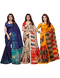 Ishin Combo Of 3 Poly Silk Multicolor Printed Women's Saree
