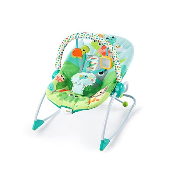 Bright Starts Playful Parade Baby to Big Kid Rocker Bright-Starts Seat can rock back and forth to soothe, or can be set to a fixed position for small babies and older toddlers Full body recline with 2 positions Soothing vibrations 2