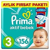 Prima Bebek Bezi Aktif Bebek, 3 Beden, 156 Adet, Aylık Fırsat Paketi