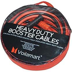 Voilamart Câbles solides de démarrage de batterie de voiture à essence et diesel de 6m - 1 200A / 2 000 / 3 000 A pour voiture, van, camion