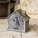 Spardose Häuschen 10,5x5,5x10cm Sparbüchse Haus Handarbeit Holz Büchse Sparbox Kinderpaar
