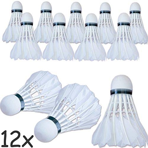 HOMETOOLS.EU® - 12x Badminton Federbälle SHENG JIE SJ1| Feder-Ball Bad-Minton Training | weiß Kork Kopf, Feder Korb | Spar-Packung, 12 Stück