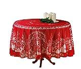 Spitzen Tischdecke Ø 180cm rot Tisch Decke Tafel Tuch Tischläufer rund