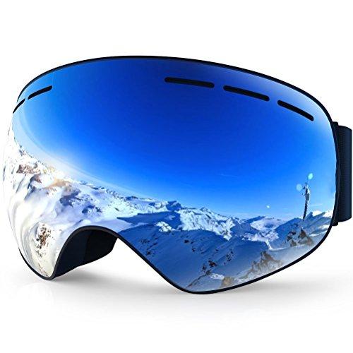 Occhiali da sci maschera snowboard all-frameless, (per donna e uomo) occhiali da neve sole doppi occhiali anti-nebbia i / o (blue)