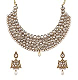 #8: I Jewels Traditional Kundan & Pearl Necklace Set For Women (K7059W)