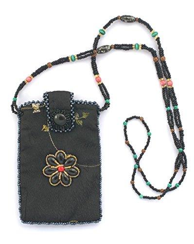 Tasche aus Seide für Handy Blume–Kugeln von Glas und Porzellan (Tasche Blumen-seide)