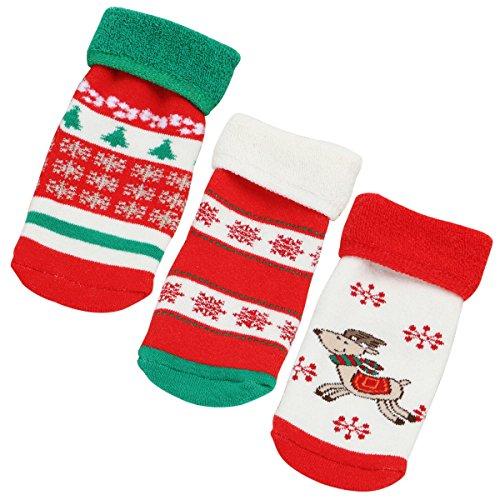 Happy Cherry - 3 pares Calcetines Bebés para Navidad de Algodón Grueso Calcetines Infantiles Invierno Cálido para Niños Niñas - Talla S (0-1años)