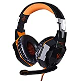 Walmeck Over Ear Game Gaming Headphone Headset Earphone Headband with Mic Stereo Bass Led Light for Pc Game Each G2000 One Size Yellow