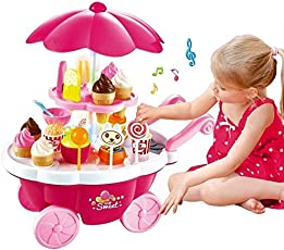 Zest 4 Toyz Ice Cream Kitchen Play Cart Kitchen Set Toy with Lights and Music. (pink2)