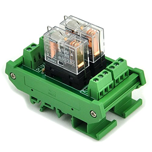 Electronics-Salon Support de rail DIN 2 Module d'interface de relais de puissance SPDT 16A, G2R-1-E Relais DC24V