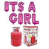 Party Factory Ballongas Helium 420 Liter im Set mit Folienballon Its A Girl Pink