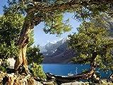 AG Design FTSs 0833  Ansicht von die Berge und den See, Papier Fototapete -180x127 cm - 1 Teil, Papier, multicolor, 0,1 x 180 x 127 cm