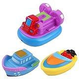de feuilles 3 * Funtime Schwimmende Boot Spielzeug Kautschuk Badewanne Spielzeug für Unisex Baby 3er Set Wasser spritzen