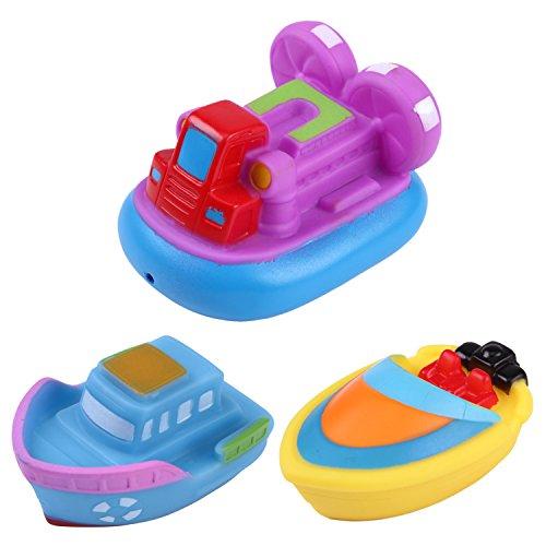 Badewanne Wasser Spielzeug (de feuilles 3 * Funtime Schwimmende Boot Spielzeug Kautschuk Badewanne Spielzeug für Unisex Baby 3er Set Wasser spritzen)