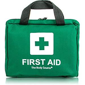 premium first aid kit bag - includes eyewash, 2 x cold (ice) packs and emergency blanket for home, office, car, caravan, workplace, trave
