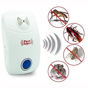 Warmoor Pest, Insect & Rodent Control Repeller Natural Harmless Professional Electronic Ultrasonic Pest Control Repeller , House Mouse Repellent , Repellent device, Electronic Plug In Insect Repellent with Night Light Repels against Roaches, Mice, Rats, Moths, Mosquito, Ants, Spiders, Bats, Rodents Cockroach, Insects, Vermin For Home Indoor (upgrade version) (1)