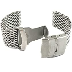 MapofBeauty Silver Stainless Steel Shark Mesh Milanese Watch Band With Push Button Deployment Buckle Clasp-24mm