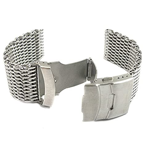 MapofBeauty Silver Stainless Steel Shark Mesh Milanese Watch Band With Push Button Deployment Buckle