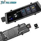 3G 10 pulgadas Dash Cam cámara del coche DVR automóvil espejo GPS Adas monitor remoto Full HD 1080P espejo retrovisor cámara dual video grabadora