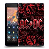 Head Case Designs Offizielle AC/DC ACDC Verziert Rot Logo Soft Gel Hülle für Amazon Fire HD 10 (2017)
