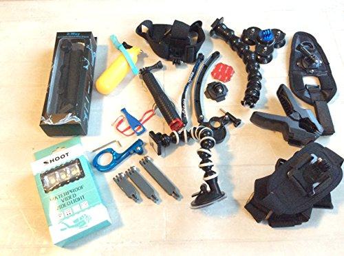 Zookki Zubehör-Kit für GoPro Hero 5/4/3+/3/2/1,Schwarz/Silber, Zubehör für SJ4000,SJ5000,SJ6000