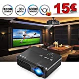 "CAIWEI Video Projector 1080p 4200 Lumen, 200"" Widescreen HD LED LCD Projector Home Theater Cinema 1280x800 TFT Display Full Color for Backyard Party BBQ Movies, Work with TV PS3 PS4 DVD Phone, Black"