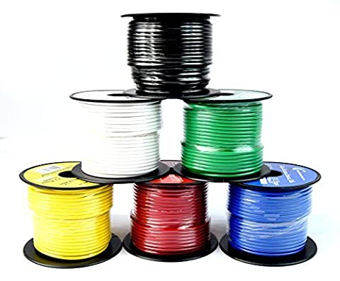 14 GA Single Conductor Stranded Remote Wire 6 Rolls Primary Colors 12V 100'FT EA by Best Connections