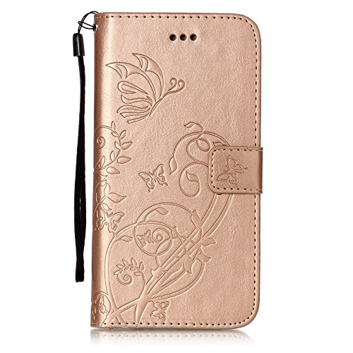 Custodia iPhone 7 Plus/iPhone 8 Plus (5.5), EUWLY Protettiva Cover Case in PU Pelle per [iPhone 7 Plus/iPhone 8 Plus (5.5)], Premium Pelle PU Custodia Caso Retro PU Leather Custodia Cover Goffratura Oro