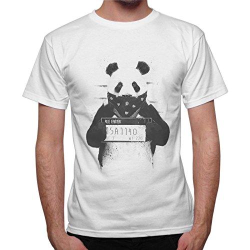 T-Shirt Uomo Panda Bandito Wanted Idea Regalo Bianco