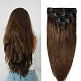 "Clip in Real Hair Extensions Full Head 100% Remy Human Hair Doule Wefts 8pcs 20"" 150g #4 Medium Brown"