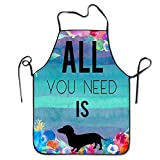 All You Need is Dachshund Bram,Dachshund Love Wine-09 Print Kitchen Funny Apron for Kitchen BBQ Barbecue Cooking Grilling Tailgate Bacon