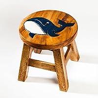Robusto Niños Taburete, madera, diseño de ballena