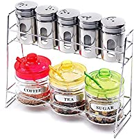 MEICHEN Cucina in vetro Cruet Set (Set di 9: 1pc Rack, 5pcs Shaker, 1pc Zucchero Pot, 1pc Coffee Pot & 1pc Teiera con cucchiaio e coperchio) , Yellow