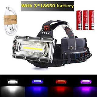 GEZICHTA Stirnlampe, 3000 lm, 30 W, COB Arbeitsscheinwerfer, LED, Tragbare Suchlichter, USB wiederaufladbar, 18650 Suchlichter, wasserfest, superhelle LED-Taschenlampe, Schwarz, Battery Version
