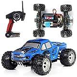 Qiulv 1:18 WD RC Calesa Tractor Rock Coche 2.4G Cuatro Ruedas Conducir Camión Remoto Controlar Alpinismo Fuera del Camino Vehículo por Adulto Y Niño Regalo,Blue