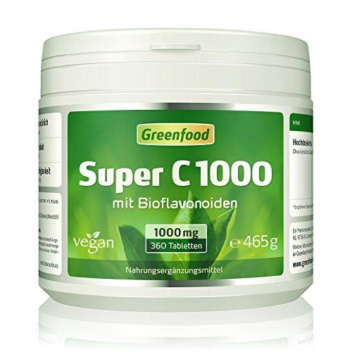 Super C, 1000 mg Vitamin C, hochdosiert, 360 Tabletten, vegan - mit Acerola, Hagebutte und Bioflavonoiden. Für ein bärenstarkes Immunsystem. Schützt die Zellen vor vorzeitiger Alterung. OHNE künstliche Zusätze. Ohne Gentechnik. -