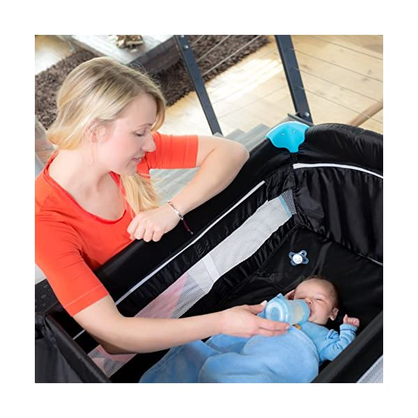 Hauck Sleep N Play Centre, 7-part Folding Travel Cot from Birth to 15 kg, Bassinet and Changing Top, Folding Mattress and Wheels, Side Opening, 120 x 60 cm, Multicolour Black Hauck Complete set - with bassinet, changing top, equipment bag, folding mattress, and transport bag, you will be fully equipped for all your travels with baby From birth - thanks to the new-born bassinet suitable to 9 kg, your baby sleep on a higher level with easy access; later, the bassinet is removed and the cot can be used up to 15 kg Mobility - with few actions only, this cot can be assembled and folded away compactly, making it very convenient for your next trip; thanks to wheels, you can also move it around in your house 7