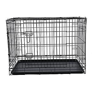 Blackpoolal Faltbar Metall Käfig Hundekäfig Hundebox Drahtkäfig Transportkäfig hundetransportbox Hund Katze 2 Türen Transportbox Kennel (93 x 58 x 66cm)