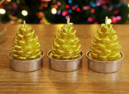 Tragbare Goodies-Taschen-Ideen-Party-Taschen 3 STÜCKE Weihnachtskerzen Mit Halter Handmade Christmas Eve Schaufenster Tischdekoration (Tannenzapfen Muster) (Farbe : Golden, Größe : 6 * 4cm)