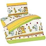 Aminata Kids - Kinder-Bettwäsche 100-x-135 cm Zoo-Tier-e-Motiv Safari Waldtier-e Dschungel 100-% Baumwolle Renforce grün-e gelb Löwe Giraffe-n Herz