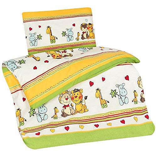 feuerwehr bettwaesche fuer erwachsene Aminata Kids Kinder-Bettwäsche 100-x-135 cm Zoo-Tier-e Safari Waldtier-e Dschungel Baby-Bettwäsche 100-% Baumwolle Renforce Bunte grün gelb Junge-n und Mädchen Herz-en Giraffen