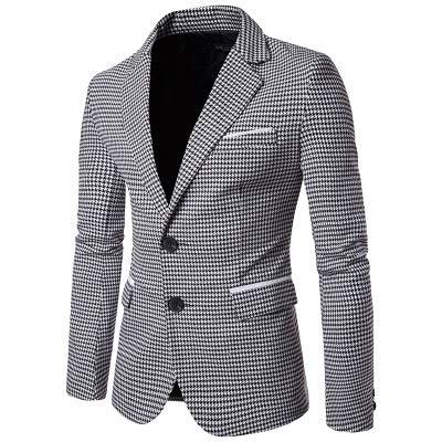 Whj uomo in bianco e nero griglia reticolo casuale vestito stretto sartoria casual indossare blaze giacca uniforme tuta bavero giacca,xxl