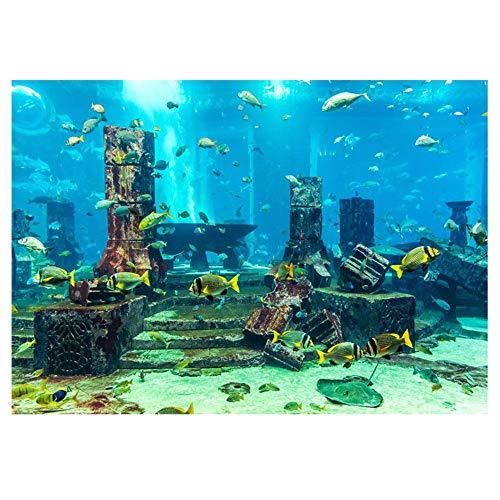 Pssopp Underwater World Aquarium-Hintergrund, Tropische Fische, Wandaufkleber, Unterwasser-Poster, PVC, selbstklebend, 61 * 41cm -