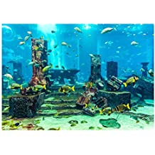 Fdit PVC Coral Aquarium Background Underwater Poster Aquarium Pared Etiqueta Engomada Decorativa para Acuario(61
