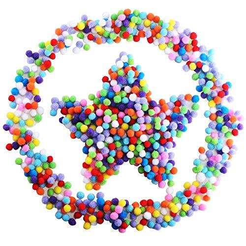 oms Bunte Pom Pom Bälle 10mm Mini Pompons Flauschigen Bälle Gemischte Farben Pompon Set für Kinder DIY Hobby Kreative Handwerk Dekoration ()