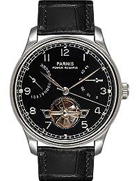 PARNIS automático reloj modelo 2094, con Seagull de de reloj, reloj de hombre pulsera de piel de ternero, con abierto, doble cara verglast