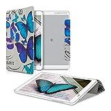 kwmobile Hülle für Huawei MediaPad T1 10 - Smart Cover Case Tablet Schutzhülle Kunstleder - Ultra Slim Tabletcase Schmetterlinge Vintage Design Blau Mintgrün Beige
