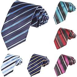 Modfine Corbata Roja a Rayas Hombre de Moda Ofinica y Negocio Multicolores