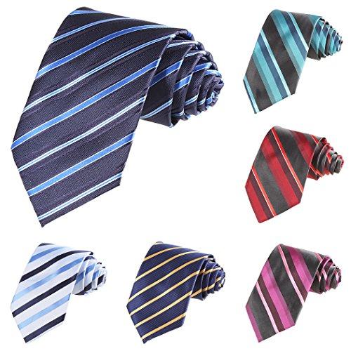 Modfine Corbata de Colores a Rayas Azul ligero de Moda Clásico Multicolores